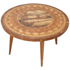 20th Century Italian Inlaid Walnut Round Coffee Table or Sofa Table