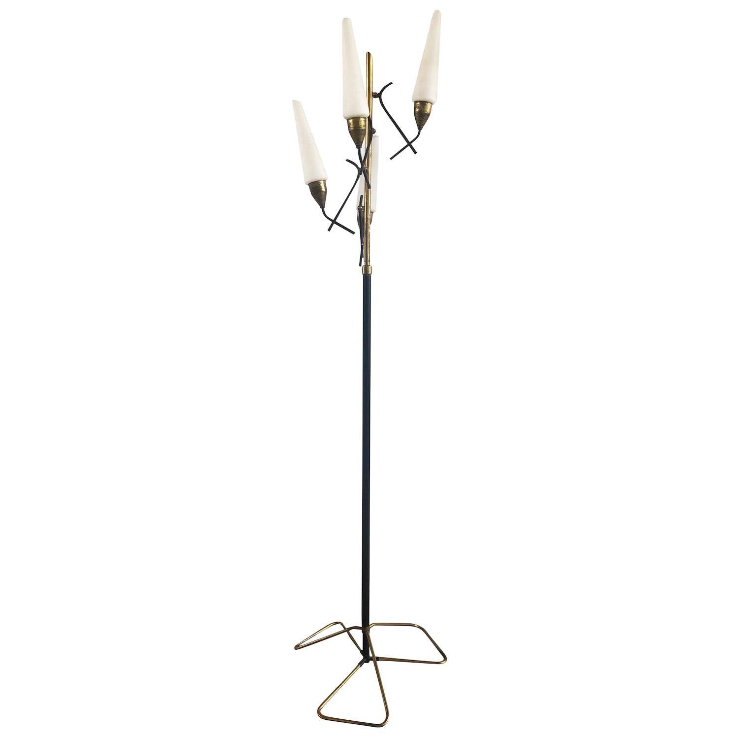 20th Century Black Italian Iron, Brass Floor Lamp by Stilnovo