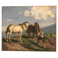 20th Century Italian Landscape with Horses and Farmer Signed Pajetta