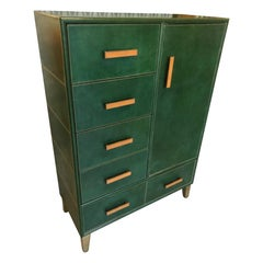20th Century Italian Leather and Brass Chest of Drawers, 1980s