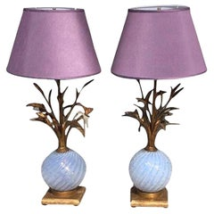 20th Century Italian Lilac Pair of Tall Murano Table Lamps by Barovier & Toso