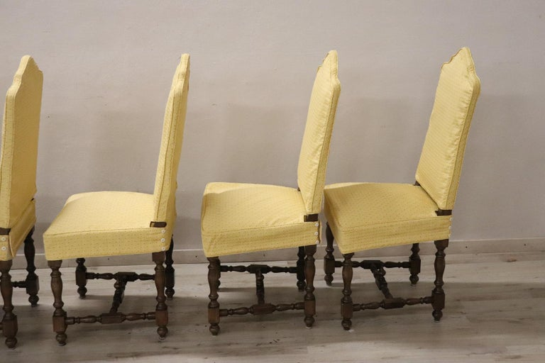 20th Century Italian Louis XIV Style Walnut Wood Chairs, Set of Six For Sale 6