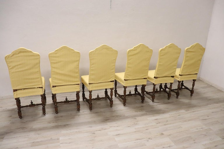 20th Century Italian Louis XIV Style Walnut Wood Chairs, Set of Six For Sale 7