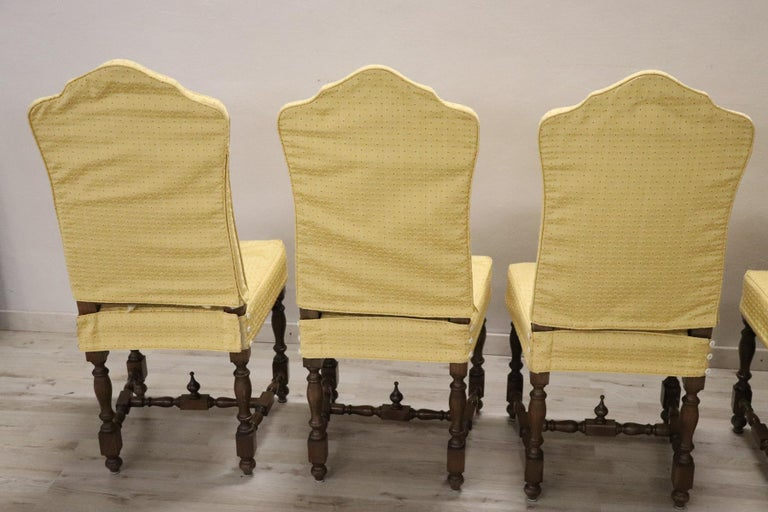 20th Century Italian Louis XIV Style Walnut Wood Chairs, Set of Six For Sale 8