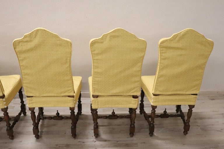 20th Century Italian Louis XIV Style Walnut Wood Chairs, Set of Six For Sale 9