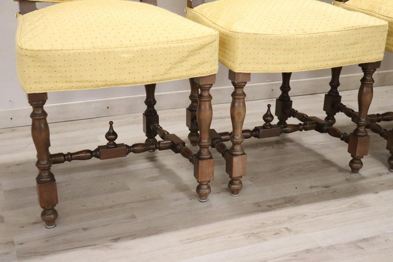 Carved 20th Century Italian Louis XIV Style Walnut Wood Chairs, Set of Six For Sale