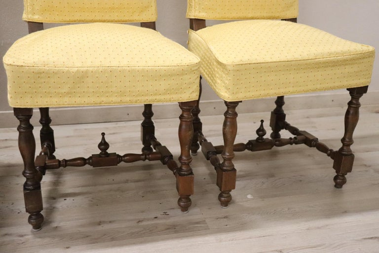 20th Century Italian Louis XIV Style Walnut Wood Chairs, Set of Six In Excellent Condition For Sale In Bosco Marengo, IT