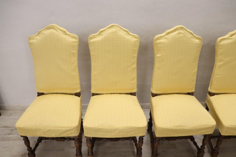 20th Century Italian Louis XIV Style Walnut Wood Chairs, Set of Six For Sale 2