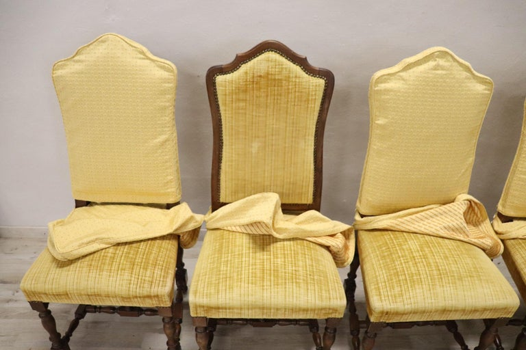 20th Century Italian Louis XIV Style Walnut Wood Chairs, Set of Six For Sale 3