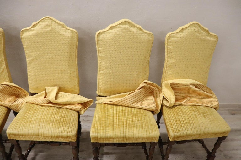 20th Century Italian Louis XIV Style Walnut Wood Chairs, Set of Six For Sale 4