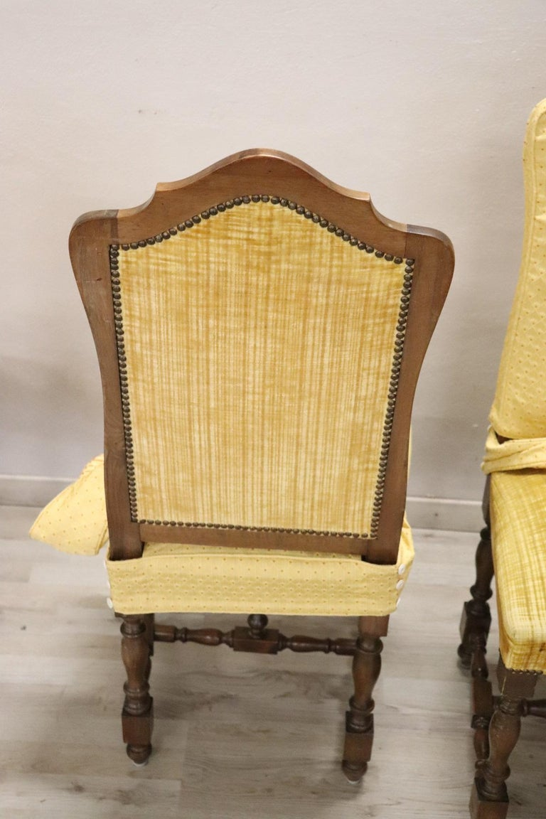 20th Century Italian Louis XIV Style Walnut Wood Chairs, Set of Six For Sale 5
