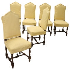 20th Century Italian Louis XIV Style Walnut Wood Chairs, Set of Six