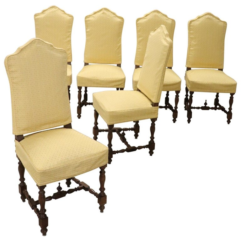 20th Century Italian Louis XIV Style Walnut Wood Chairs, Set of Six For Sale