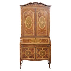 20th Century Italian Louis XV Style Inlaid Walnut Cabinet with Writing Desk