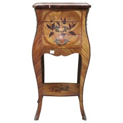 20th Century Italian Louis XV Style Inlaid Wood Side Table or Nightstand