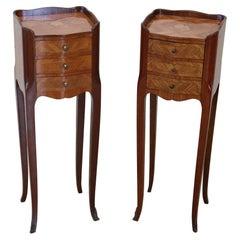 20th Century Italian Louis XV Style Inlay Wood Pair of Nightstands