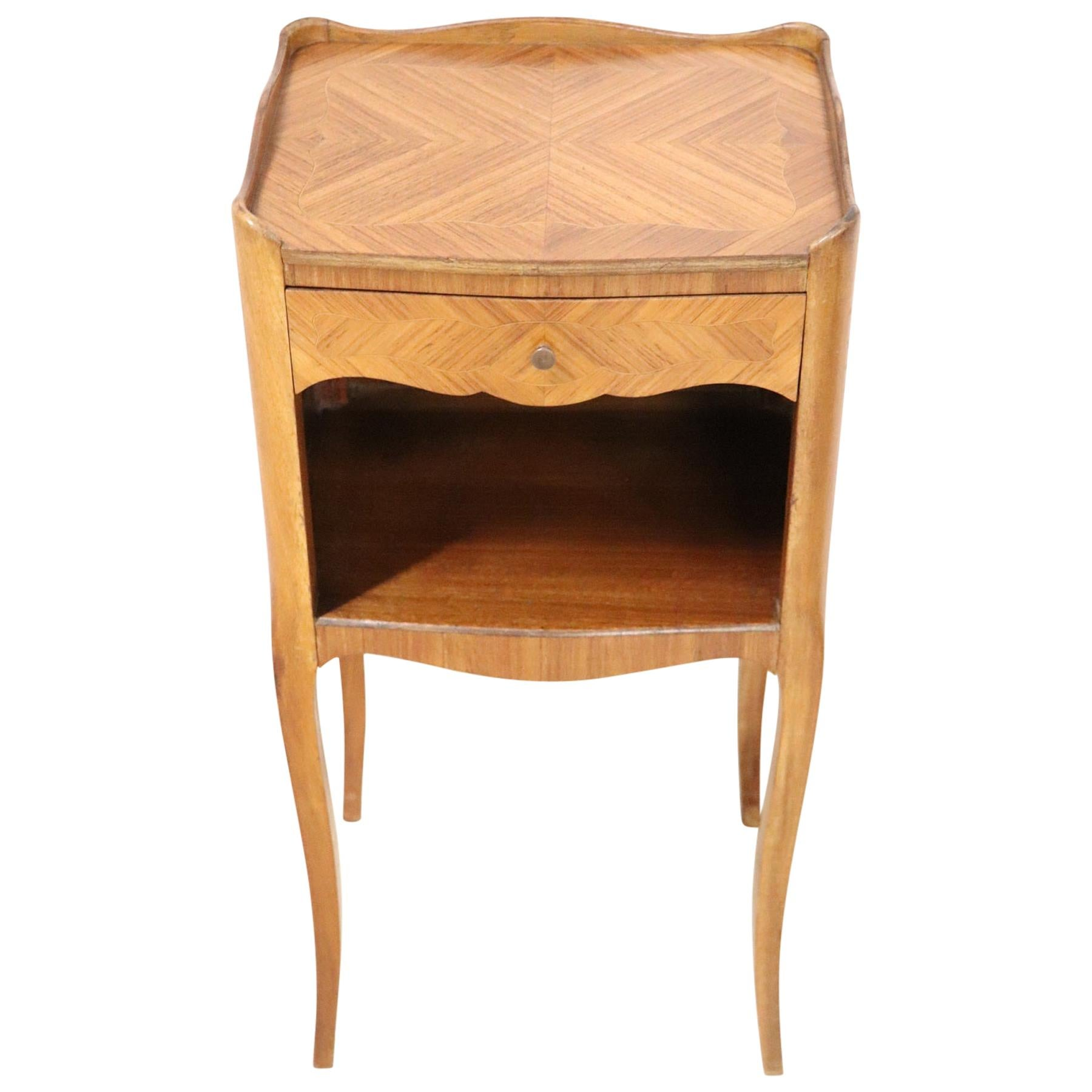 20th Century Italian Louis XV Style Inlay Wood Side Tables or Nightstand