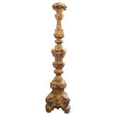 20th Century Italian Louis XV Style Pricket White Shabby Chic Floor Lamp