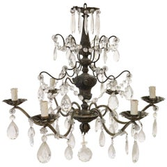 20th Century Italian Louis XVI Style Bronze and Crystals Chandelier