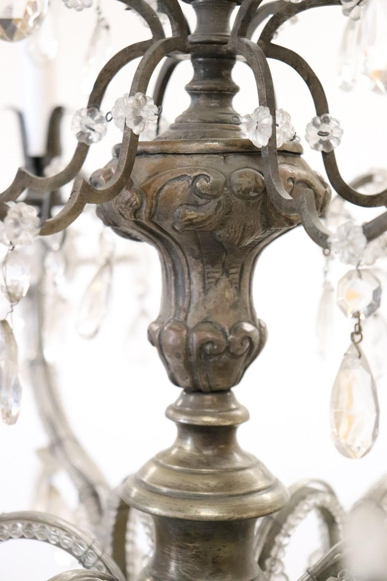 Mid-20th Century 20th Century Italian Louis XVI Style Bronze and Crystals Swarovski Chandelier For Sale