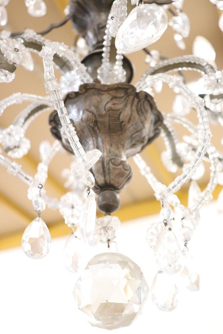 20th Century Italian Louis XVI Style Bronze and Crystals Swarovski Chandelier For Sale 1