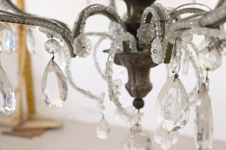 20th Century Italian Louis XVI Style Bronze and Crystals Swarovski Chandelier For Sale 2