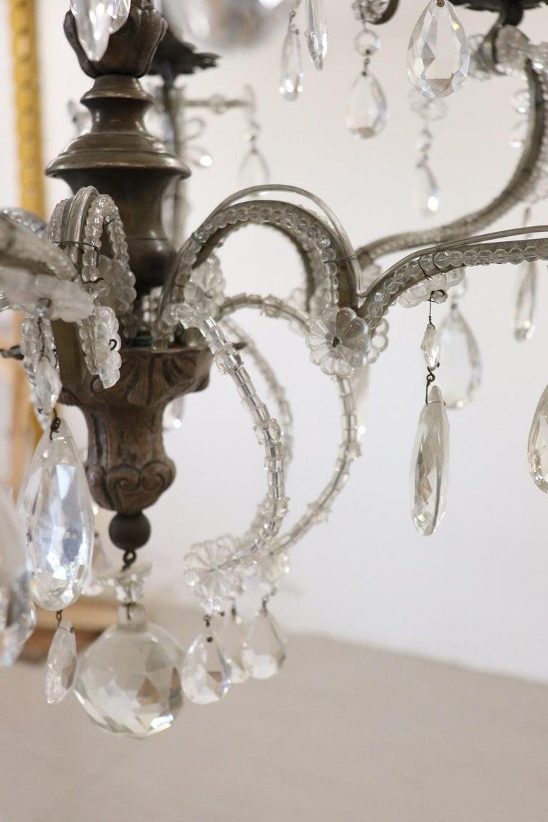 20th Century Italian Louis XVI Style Bronze and Crystals Swarovski Chandelier For Sale 3