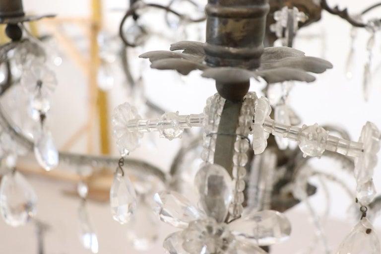 20th Century Italian Louis XVI Style Bronze and Crystals Swarovski Chandelier For Sale 4
