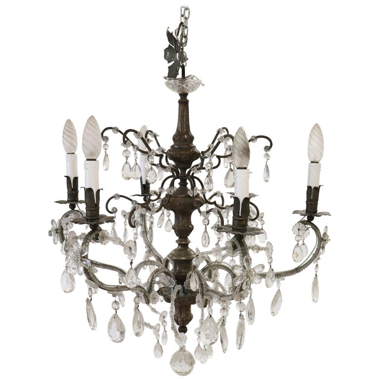20th Century Italian Louis XVI Style Bronze and Crystals Swarovski Chandelier For Sale
