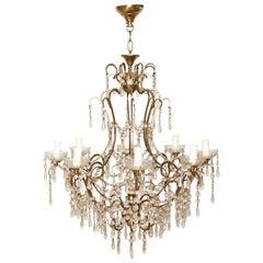 20th Century Italian Louis XVI Style Gilded Bronze and Crystals Chandelier