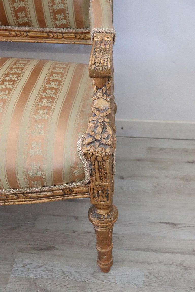 Gilt 20th Century Italian Louis XVI Style Gilded Wood Living Room Set or Salon Suite For Sale