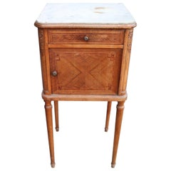 20th Century Italian Louis XVI Style Marquetry Wood Side Table or Nightstand