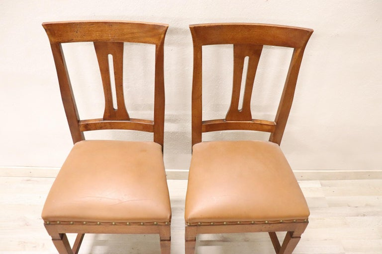 20th Century Italian Louis XVI Style Walnut Wood Four Chairs In Good Condition For Sale In Bosco Marengo, IT