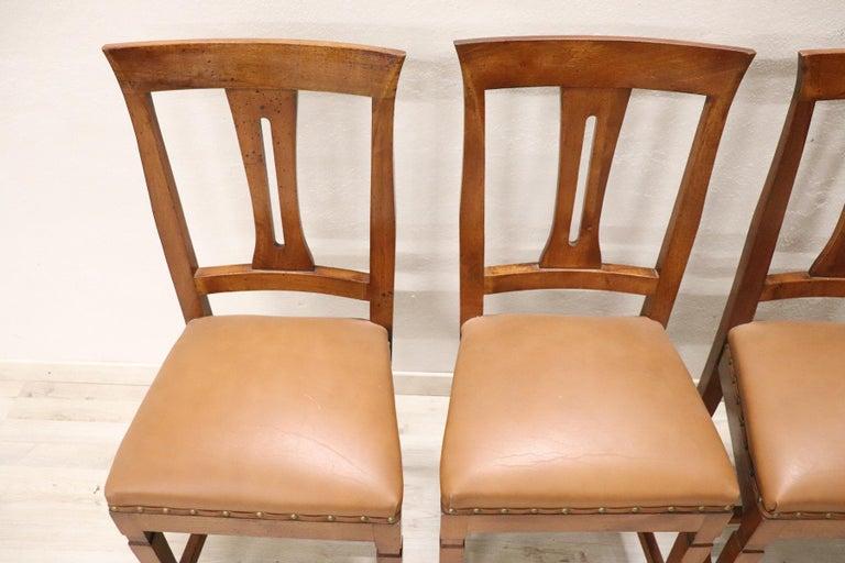 Mid-20th Century 20th Century Italian Louis XVI Style Walnut Wood Four Chairs For Sale