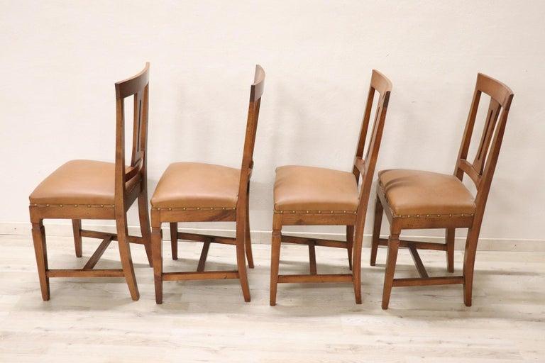 20th Century Italian Louis XVI Style Walnut Wood Four Chairs For Sale 1
