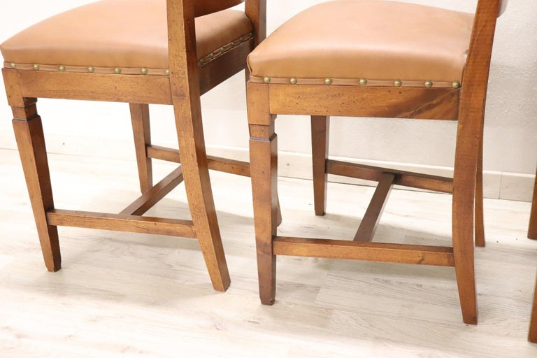 20th Century Italian Louis XVI Style Walnut Wood Four Chairs For Sale 2