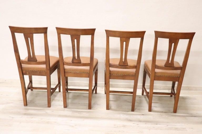 20th Century Italian Louis XVI Style Walnut Wood Four Chairs For Sale 3