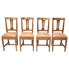 20th Century Italian Louis XVI Style Walnut Wood Four Chairs