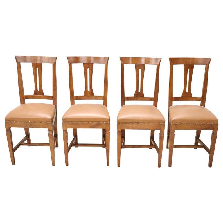 20th Century Italian Louis XVI Style Walnut Wood Four Chairs For Sale