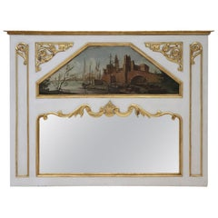 20th Century, Italian Louis XVI Style Wood Lacquered and Gilded Fireplace Mirror