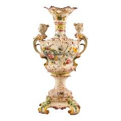 20th Century Italian Majolica Center Vase, Italy Liberty Art Nouveau Bassano
