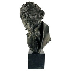 20th Century Italian Manzoni Bronze Bust Signed Dated Dora Bassi, 1970
