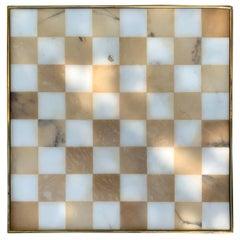 20th Century Italian Marble and Brass Chess Board, circa 1970s