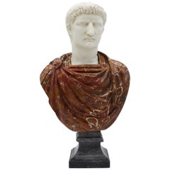 20th Century Italian Marble Sculpture Bust of Emperor Caligula By G.Pace