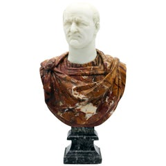 20th Century Italian Marble Sculpture Bust of Emperor Vespasian By G.Pace