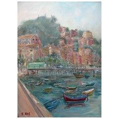 20th Century Italian Marine Landscape of Camogli Near Genoa by Ros