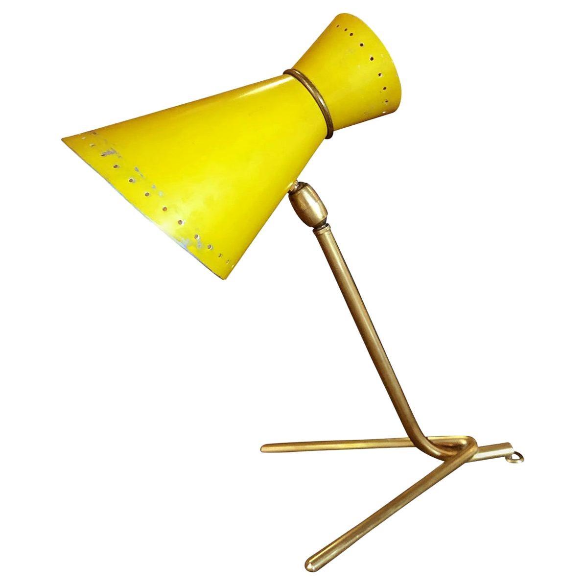 20th Century Italian Metal Table Lamp, Yellow Desk Lamp by Stilnovo