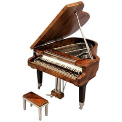 20th Century Italian Miniature Rosewood Grand Piano with Sterling Silver Details