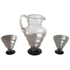 20th Century Italian Murano Art Glass Pitcher and Glasses Set, 1930s