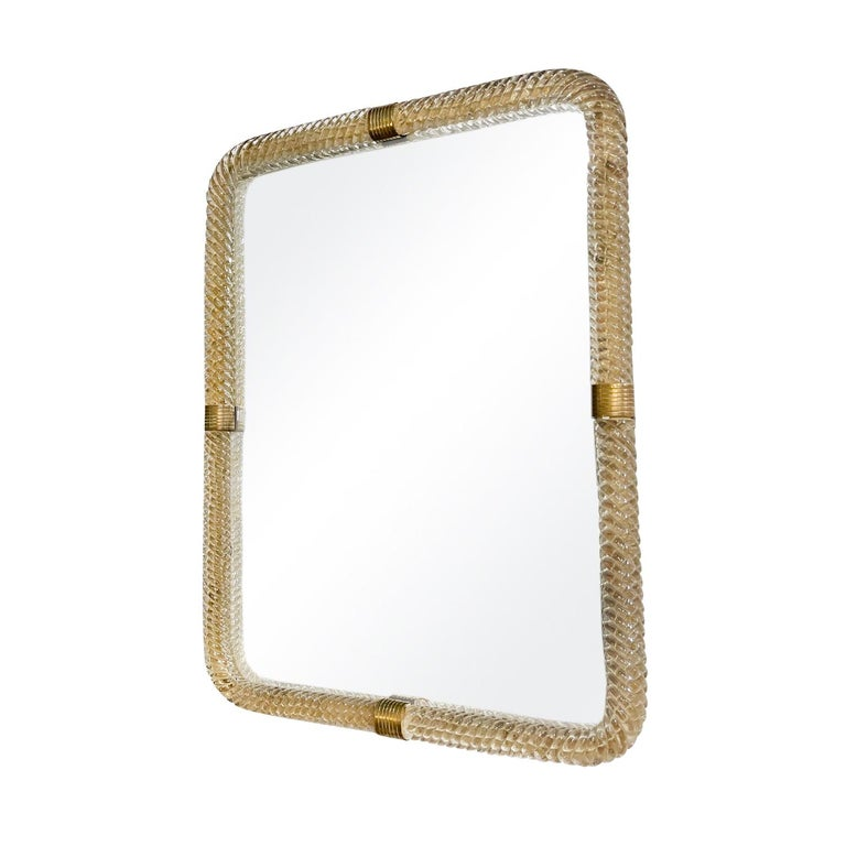 Mid-Century Modern 20th Century Italian Murano Glass, Brass Wall Mirror by Barovier & Toso For Sale